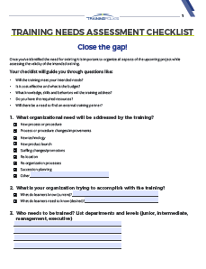Training Needs Assessment Questions To Ask